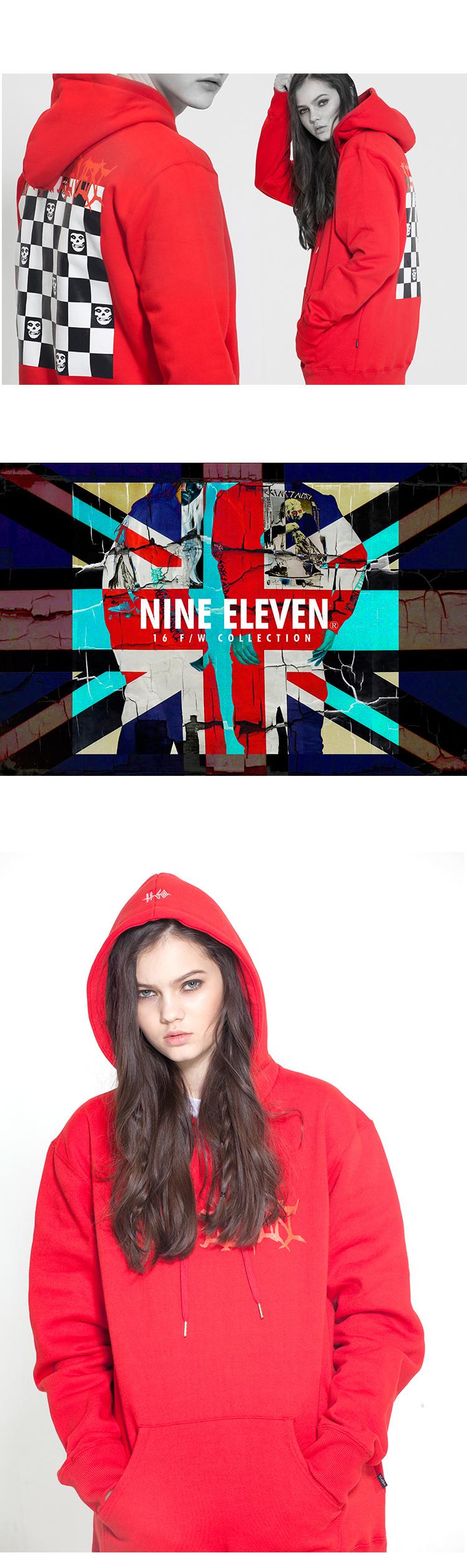 나인일레븐(NINE ELEVEN) 0911 CHECKBOARD HOODIE RED