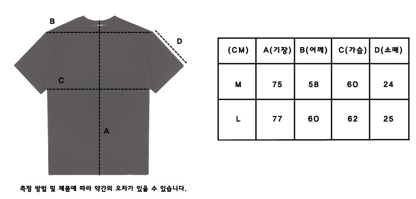 꼼파뇨(COMPAGNO) [20수] 헤비 오버핏 보더 반팔티 블랙