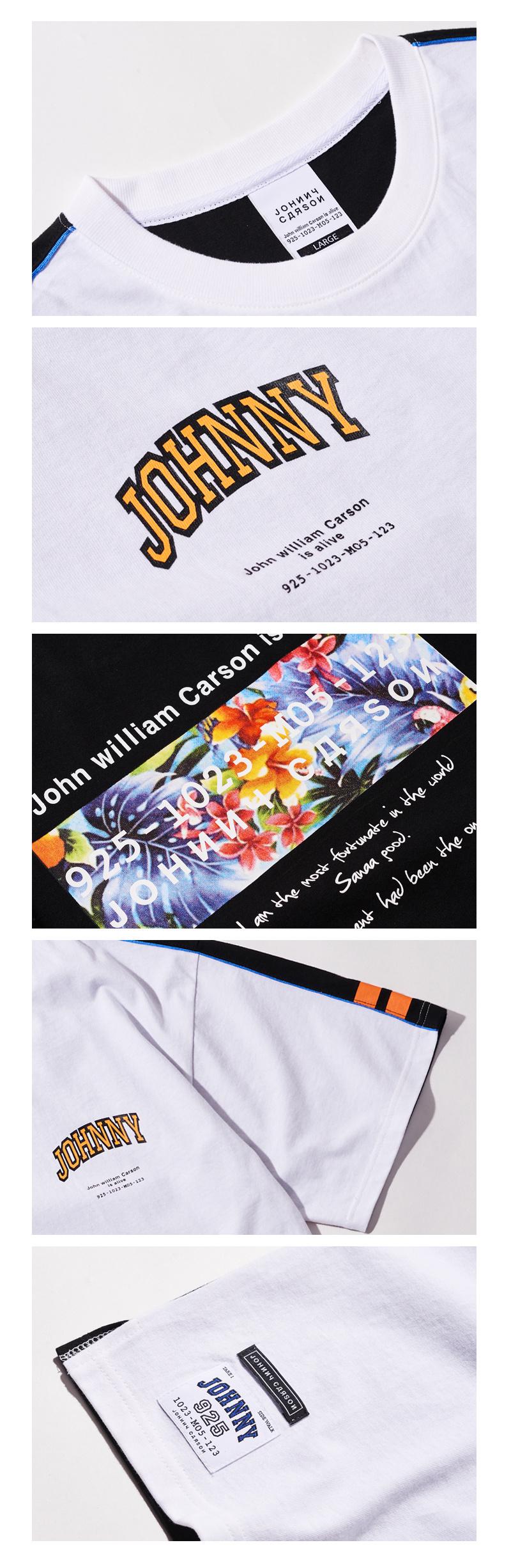 자니카슨(JOHNNY CARSON) 자니카슨 시크백 배색 반팔티셔츠 - BLACK