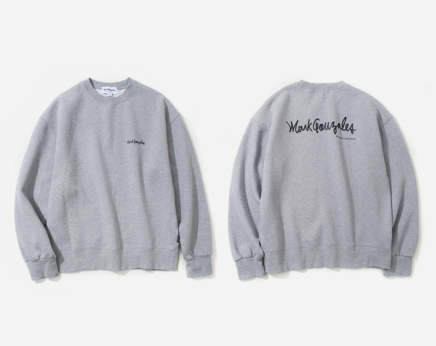 마크 곤잘레스(MARK GONZALES) MARK GONZALES SMALL SIGN LOGO CREWNECK GRAY