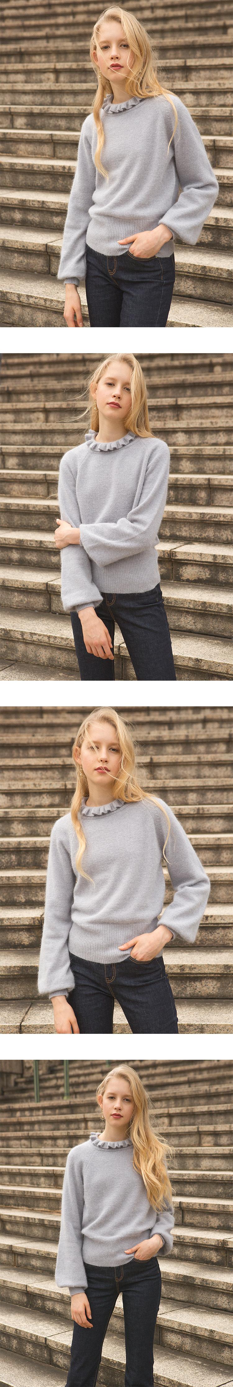 몬츠(MONTS) monts518 angora neck frill lightgrey knit