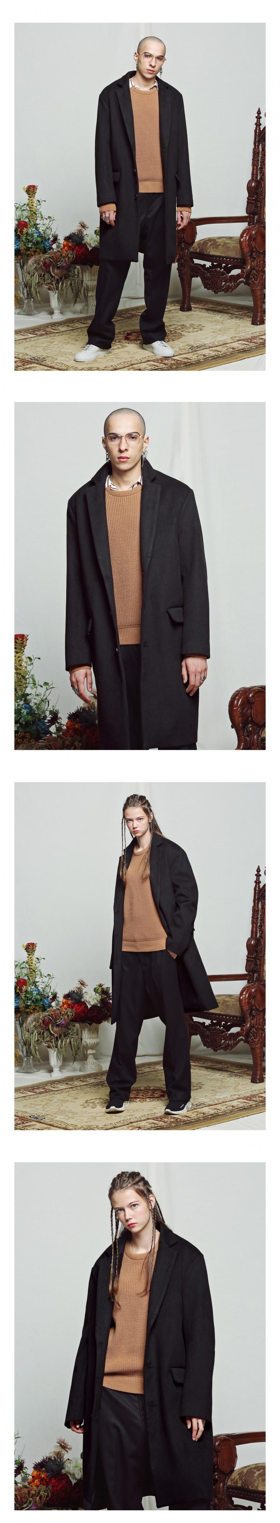언더에어(UNDERAIR) Oversize Single Coat -Black