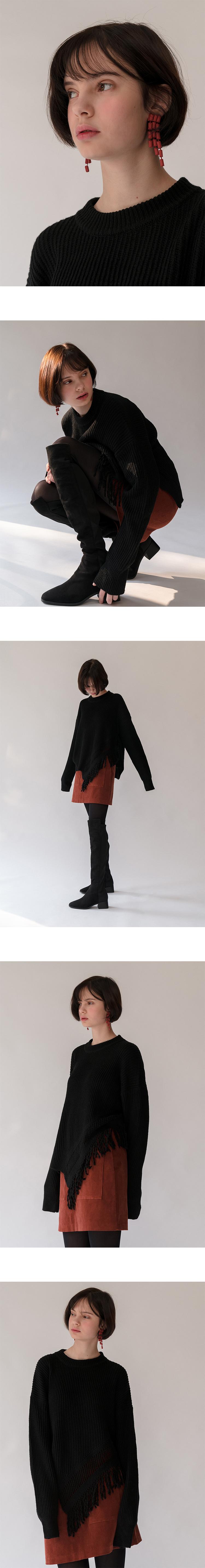 몬츠(MONTS) monts560 fringe pullover purple knit