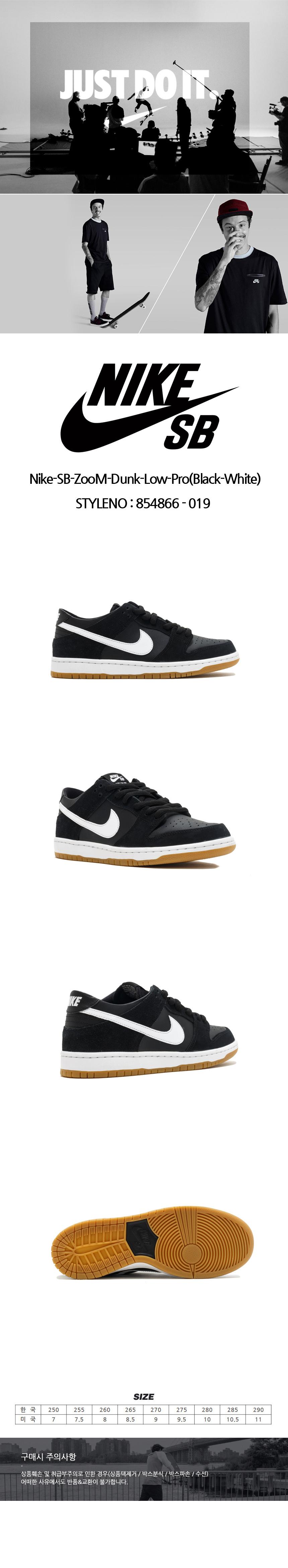 나이키(NIKE) Nike-SB-ZooM-Dunk-Low-Pro(Black-White)