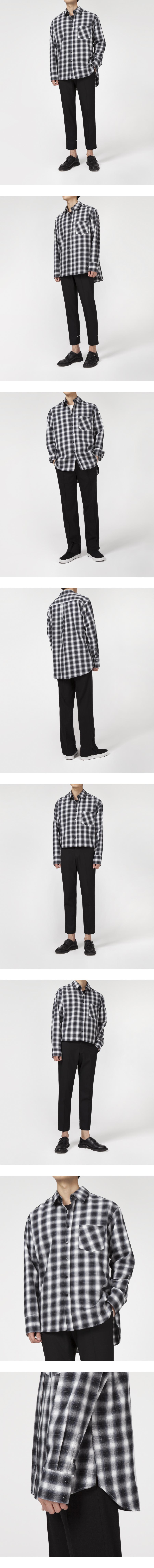 가먼트레이블(GARMENT LABLE) Flannel Check Oversize Shirts - Black