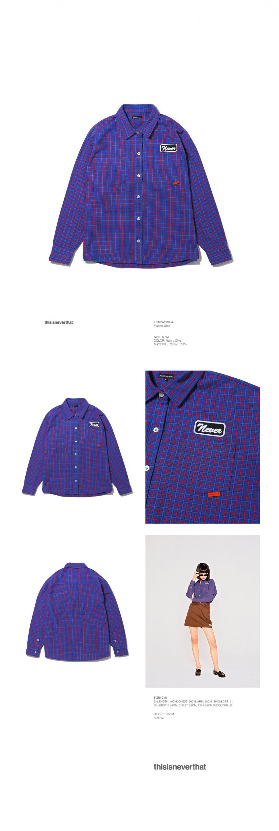 디스이즈네버댓(THISISNEVERTHAT) Flannel Shirt Navy