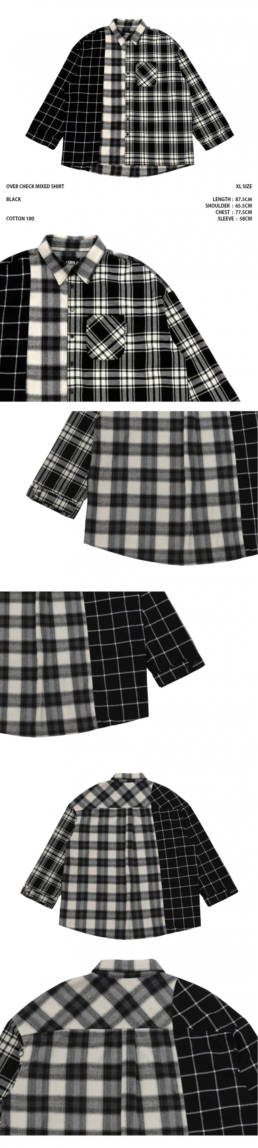 아조바이아조 오리지널 라벨(AJOBYAJO ORIGINAL LABEL) Over Check Mixed Shirt (Black)
