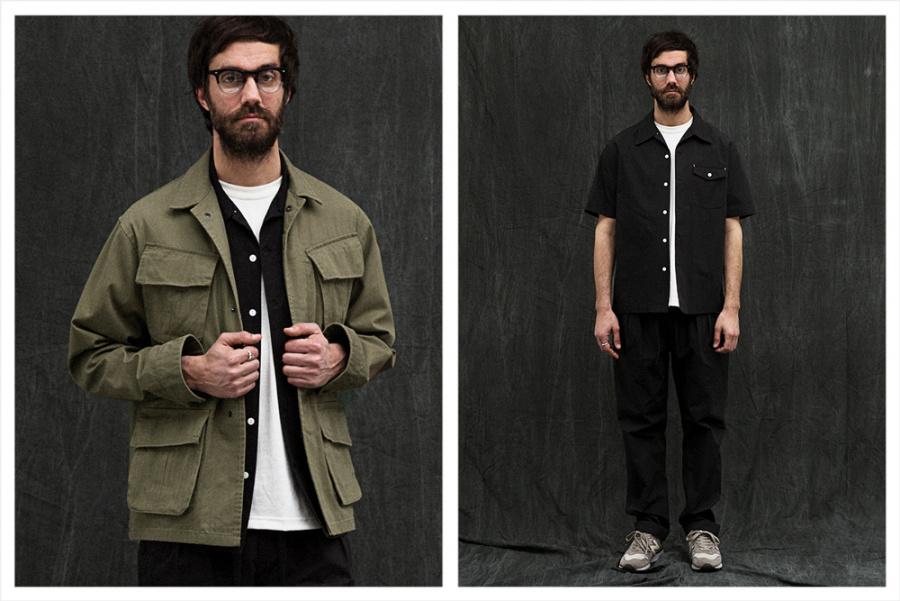 유니폼브릿지(UNIFORM BRIDGE) open collar shirts s/s black