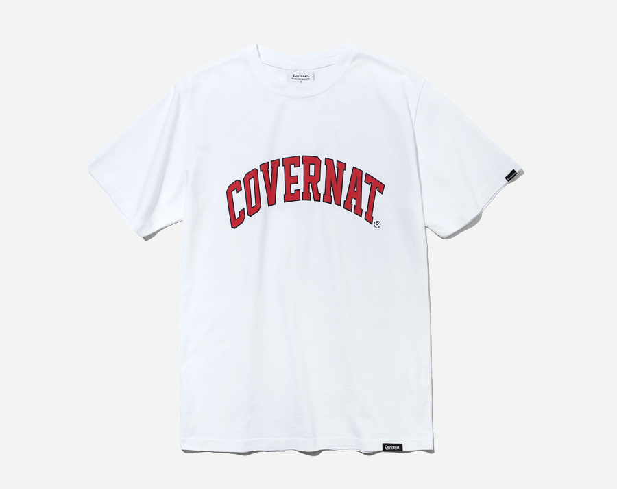 커버낫(COVERNAT) S/S ARCH LOGO TEE WHITE/RED