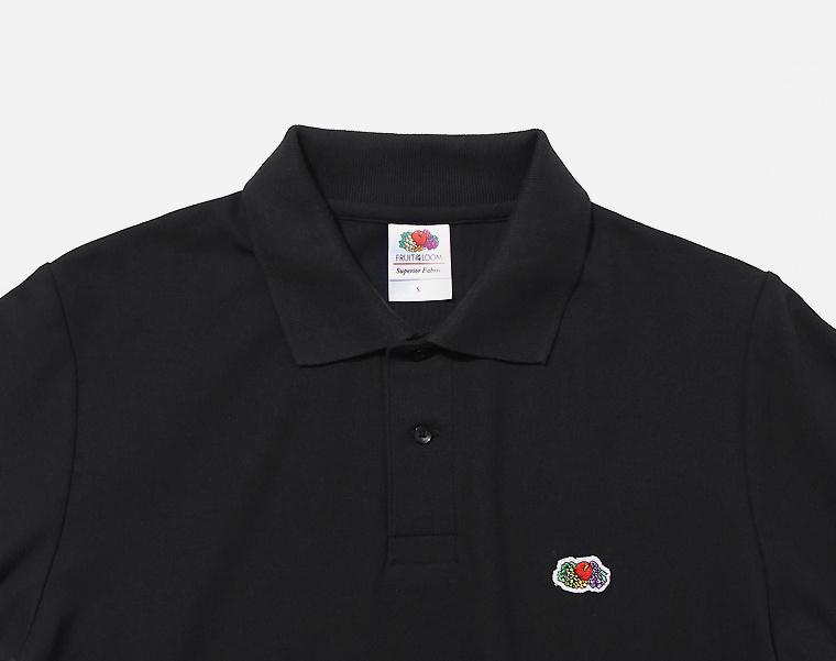 프룻오브더룸(FRUIT OF THE LOOM) [Asian fit] WAPPEN POLO T-SHIRTS BLACK