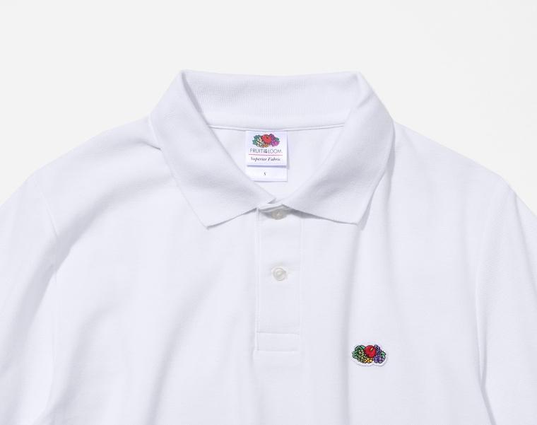 프룻오브더룸(FRUIT OF THE LOOM) [Asian fit] WAPPEN POLO T-SHIRTS WHITE