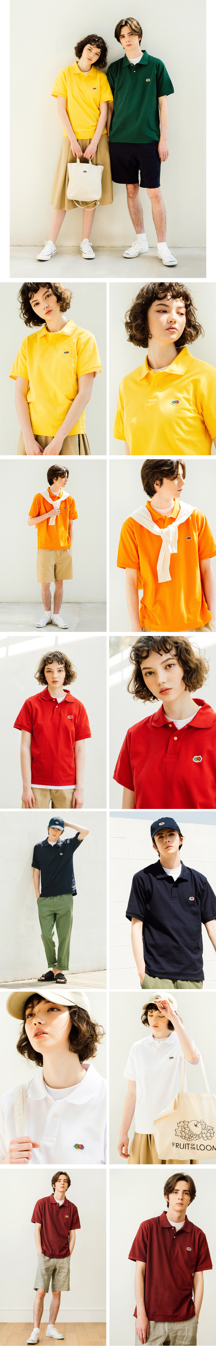 프룻오브더룸(FRUIT OF THE LOOM) [Asian fit] WAPPEN POLO T-SHIRTS GREEN