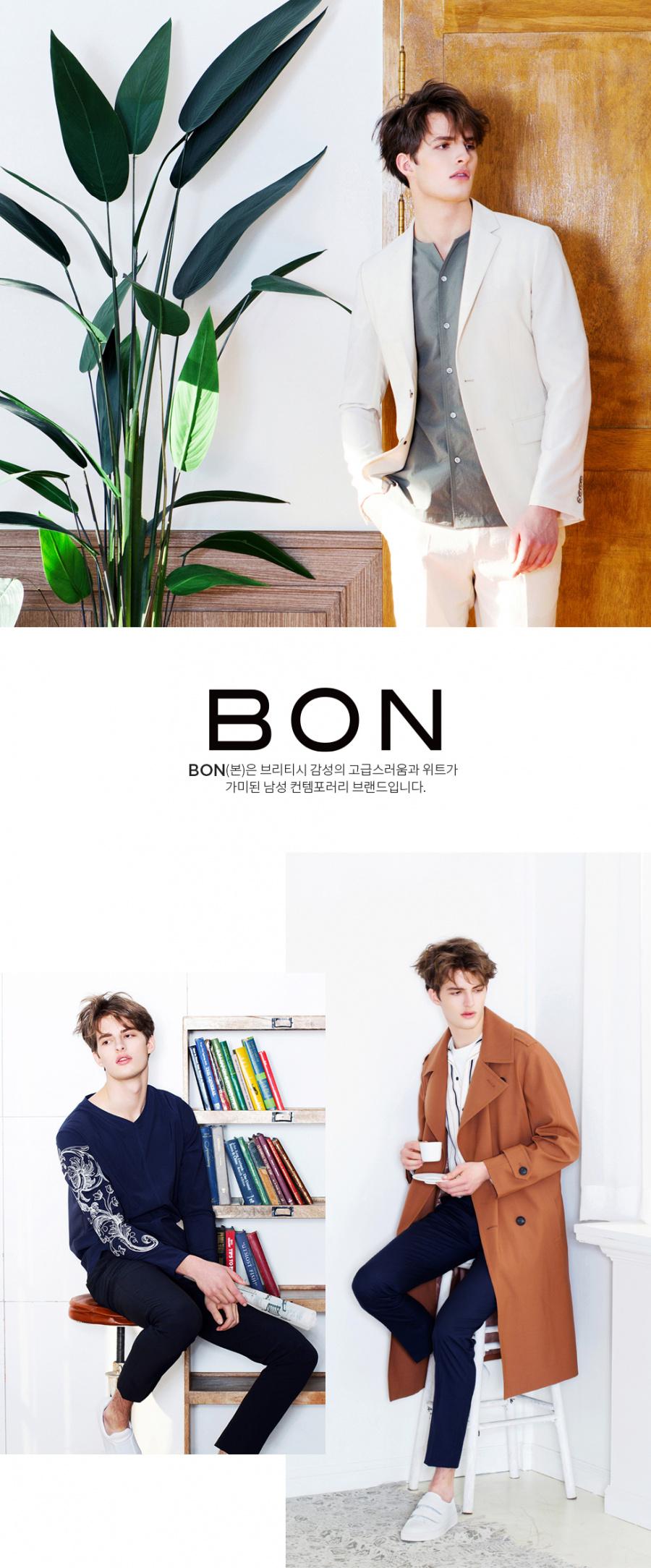 본(BON) 블랙 조직물 하이스트레치 슬림핏  싱글 투 버튼 캐주얼자켓