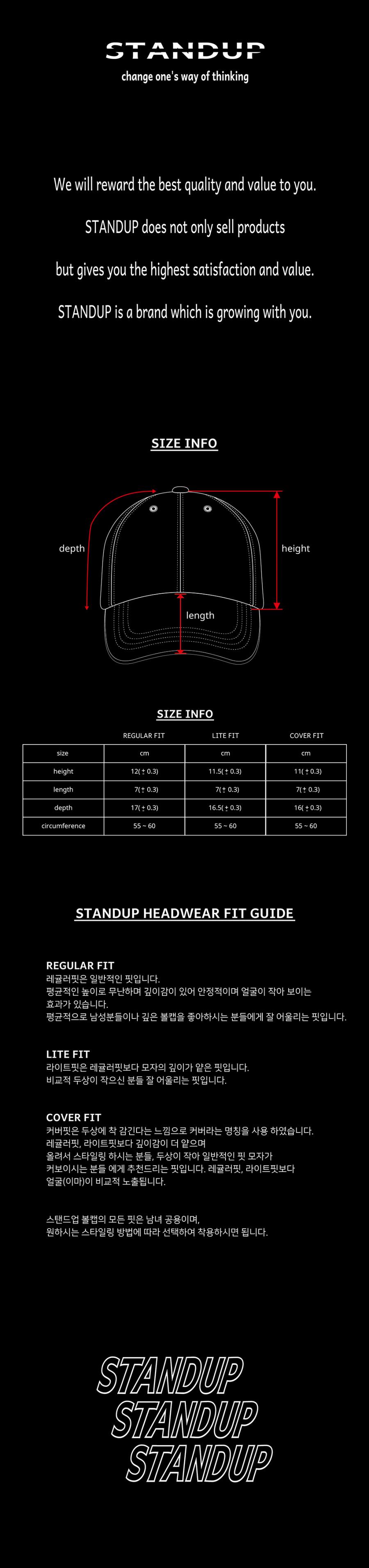 스탠드업(STANDUP) 바이저스탠드업  레드블랙 컬러 볼캡(레귤러 핏)