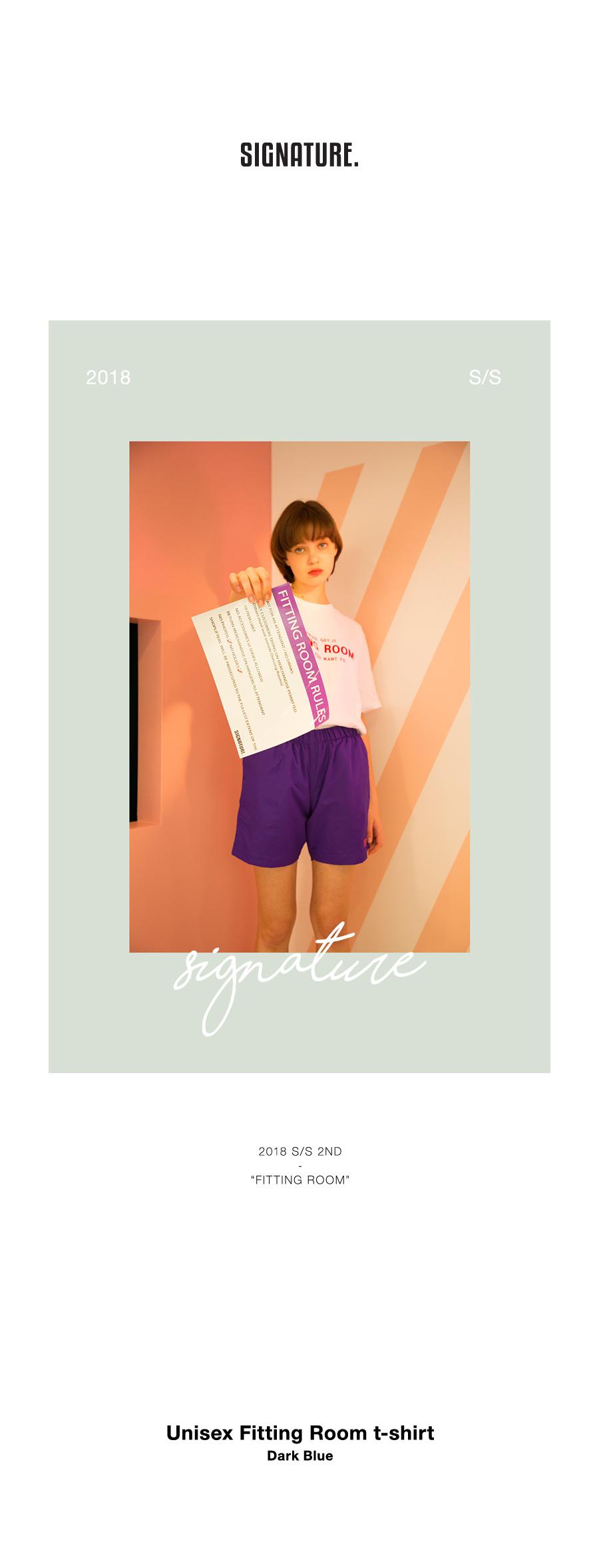 시그니처(SIGNATURE) 유니섹스 피팅룸 반팔 티셔츠 [다크블루](16수)