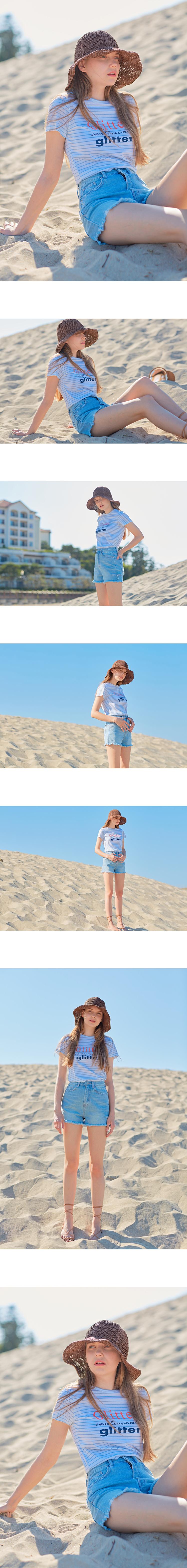몬츠(MONTS) monts717 glitter lettering t-shirt