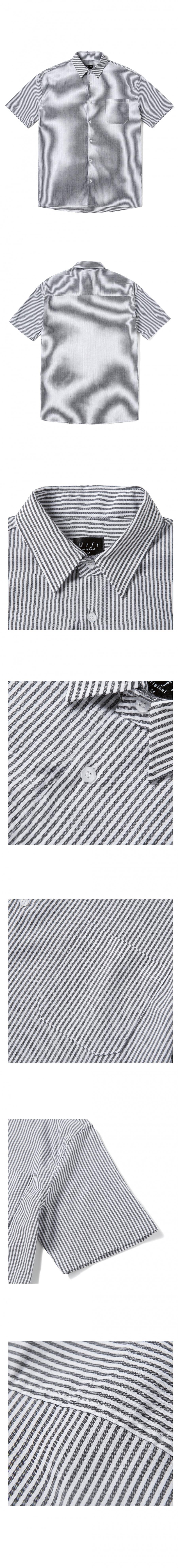 기프트오리지널(GIFTORIGINAL) (UNISEX) 스트라이프 1/2 셔츠