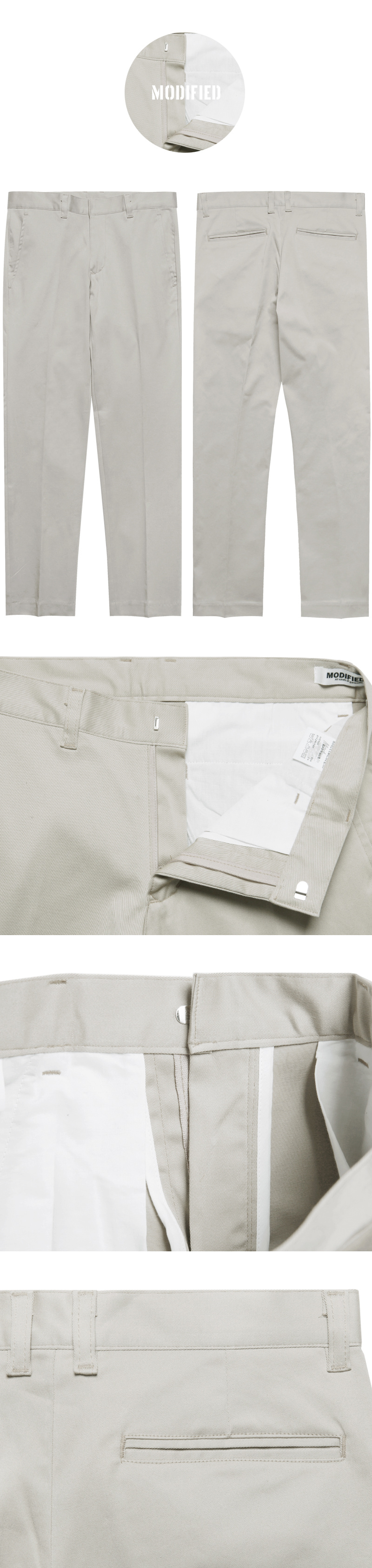 모디파이드(MODIFIED) M#1625 daily stretch cotton slim slacks (L.grey)