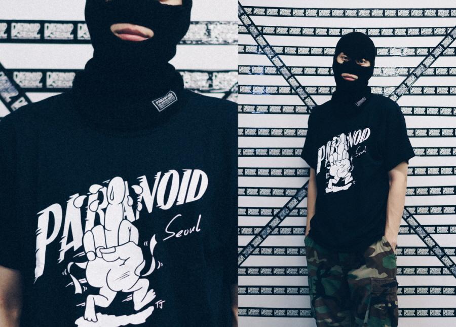 파라노이드(PARANOID) 달리는 MIDDLE FINGER 그래픽 티셔츠