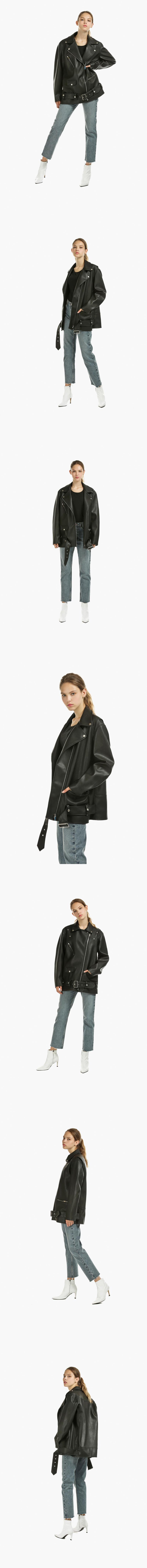레이디 볼륨(LADY VOLUME) [남/여]overfit zipper leather jaket 2