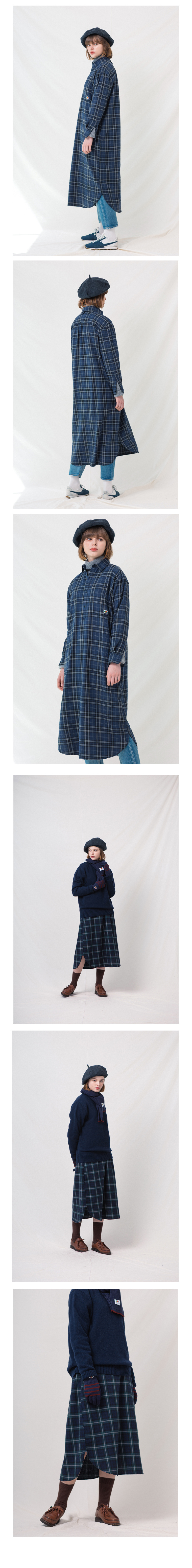 프룻오브더룸(FRUIT OF THE LOOM) ONE PIECE CHECK SHIRTS (WOMEN) BLUE