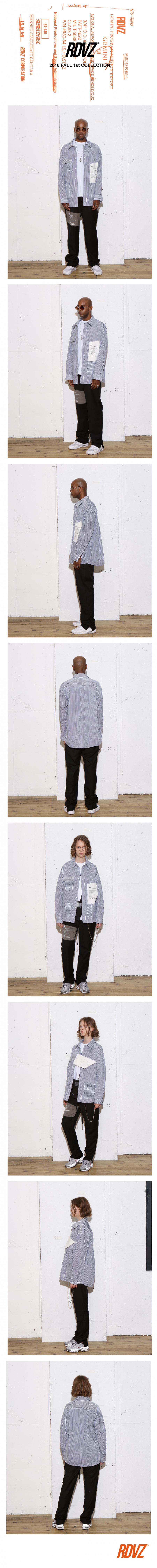 알디브이제트(RDVZ) 빅 라벨 포켓 셔츠 네이비