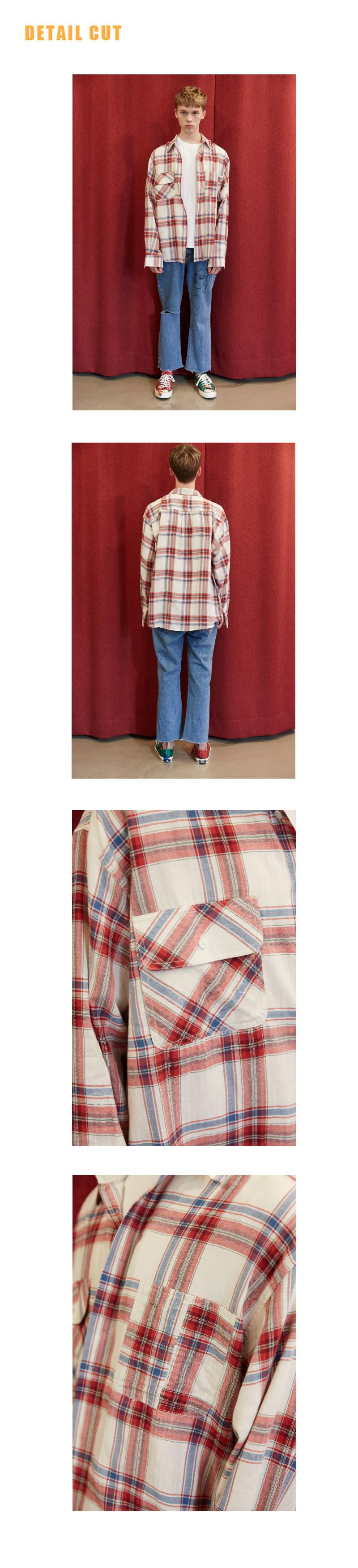 미드나잇 무브(MIDNIGHT MOVE) [unisex] 포켓 셔츠 (red)