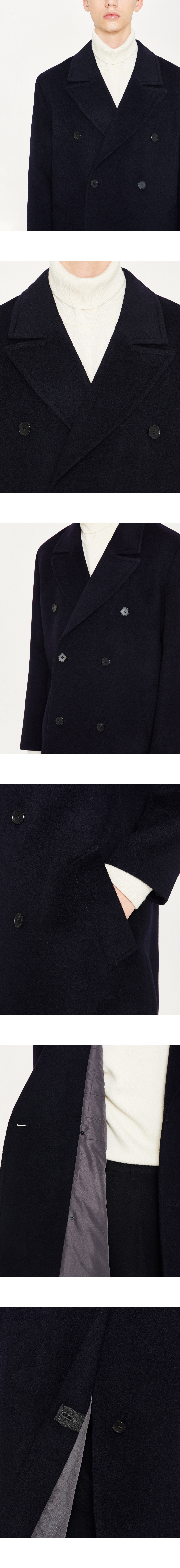 로파이(LOFI) 캐시미어 더블 브레스트 코트(네이비)