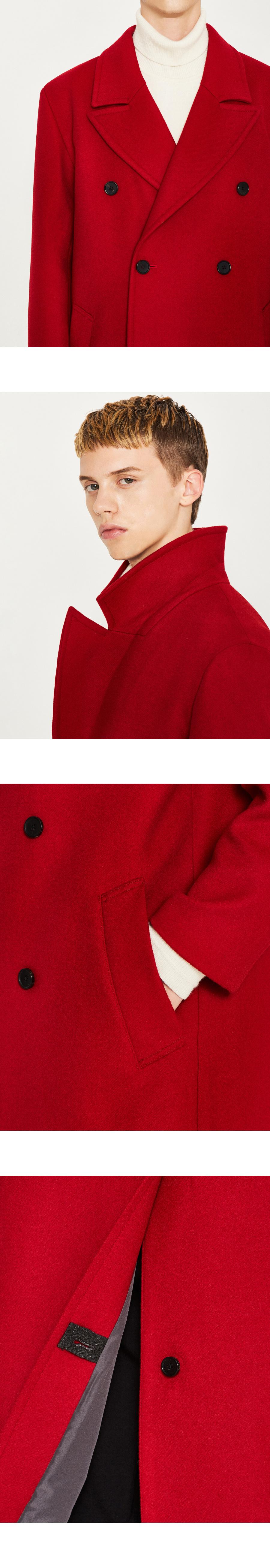 로파이(LOFI) 캐시미어 더블 브레스트 코트 (레드)