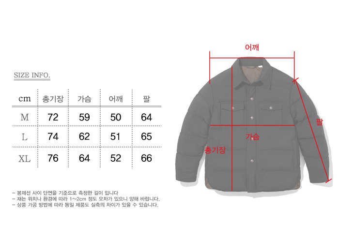 유니폼브릿지(UNIFORM BRIDGE) 18fw down shirts jacket black