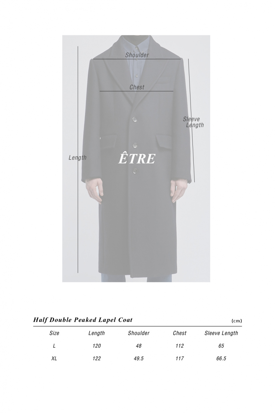 에터(ETRE) 하프더블 피크드라펠 코트