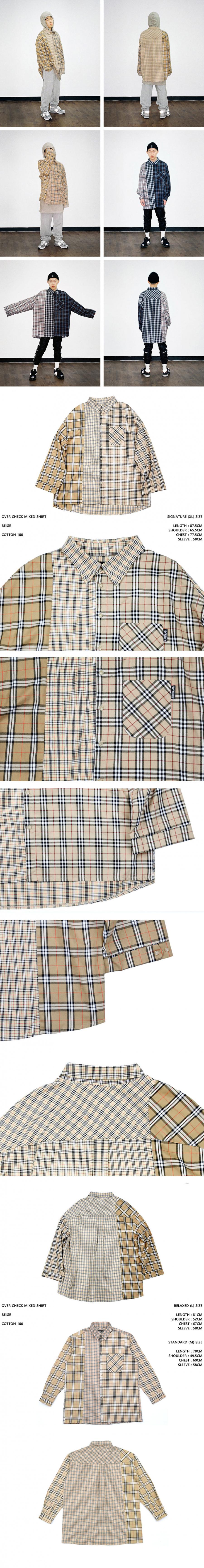 아조바이아조 오리지널 라벨(AJOBYAJO ORIGINAL LABEL) Over Check Mixed Shirt (Beige)