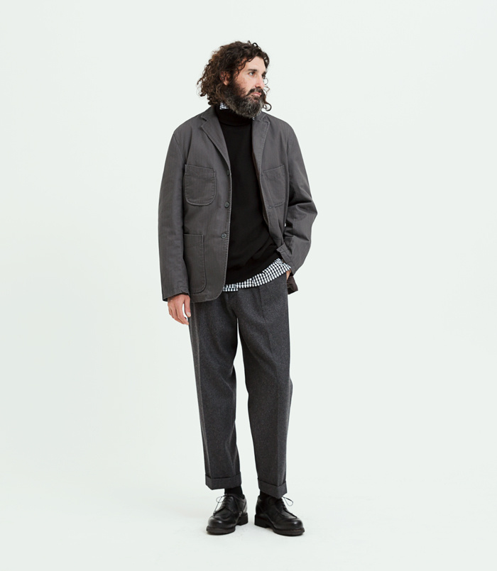 유니폼브릿지(UNIFORM BRIDGE) 18fw banding wool slacks black