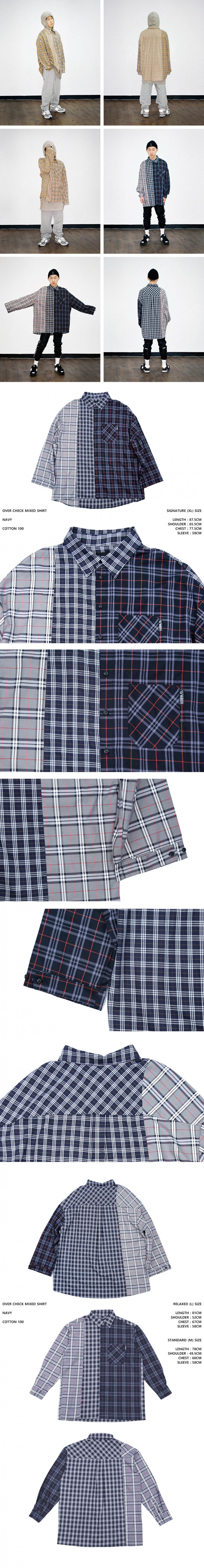 아조바이아조 오리지널 라벨(AJOBYAJO ORIGINAL LABEL) Over Check Mixed Shirt (Navy)