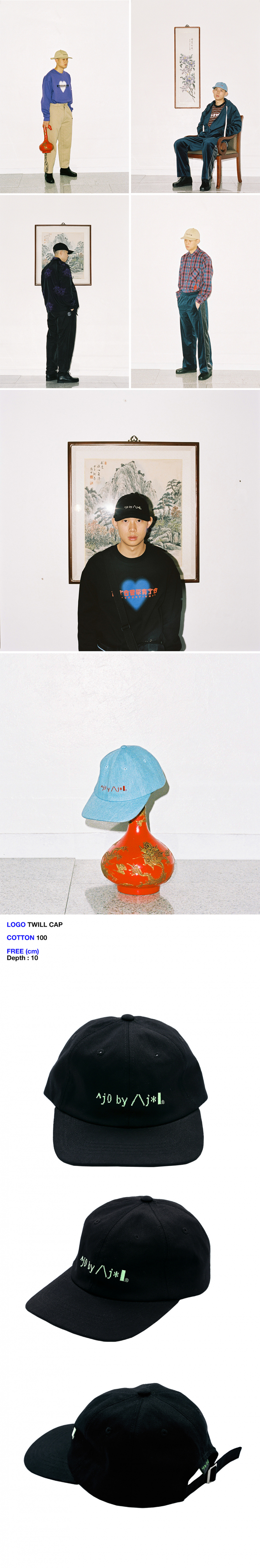 아조바이아조 핑크 라벨(AJOBYAJO FINK LABEL) Logo Twill Cap [Black]