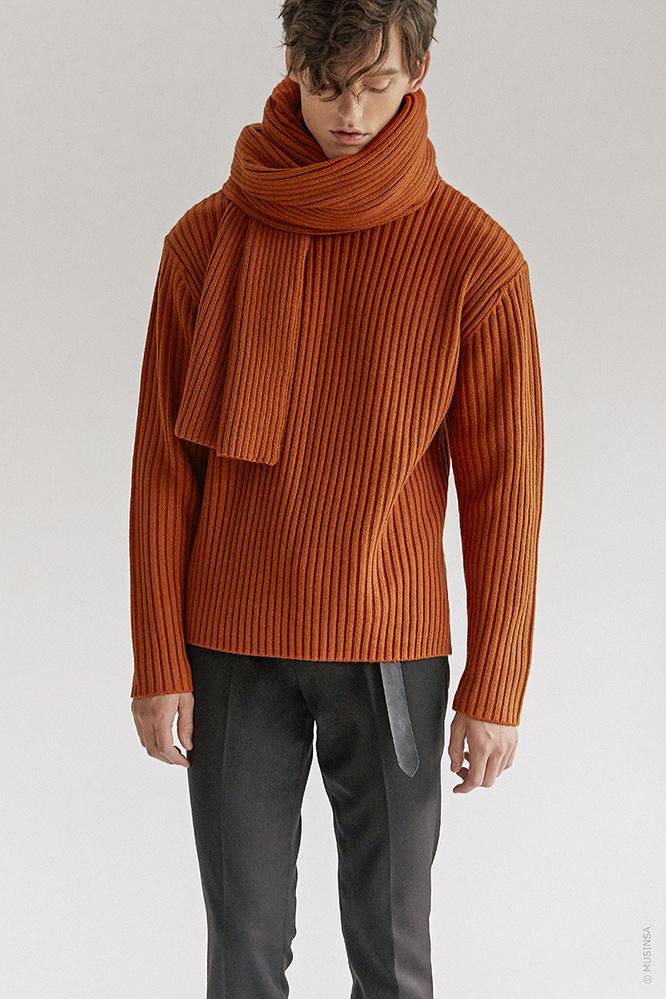 더 티셔츠 뮤지엄(THE T-SHIRT MUSEUM) 18aw heavy wool knit [orange camel]