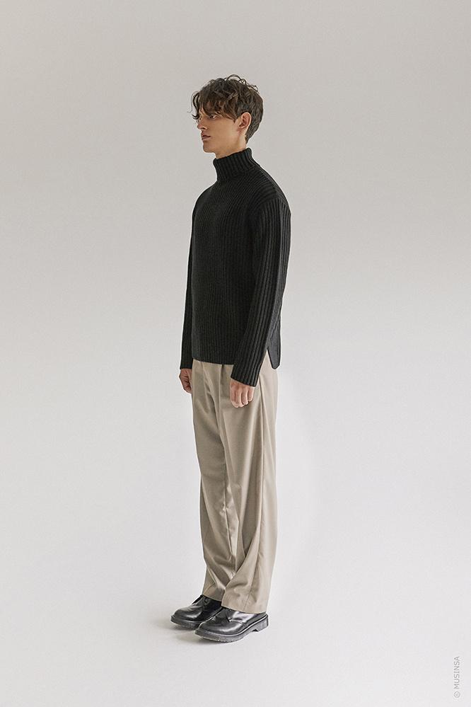 더 티셔츠 뮤지엄(THE T-SHIRT MUSEUM) 18aw heavy wool turtle neck knit [black]