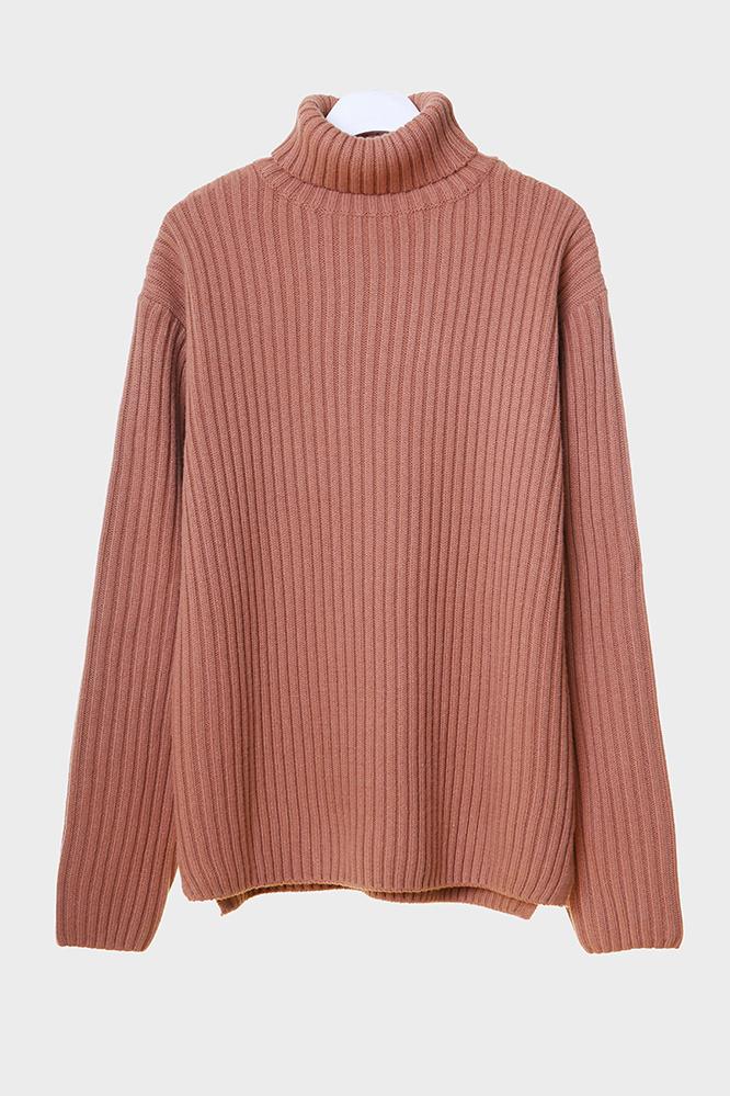 더 티셔츠 뮤지엄(THE T-SHIRT MUSEUM) 18aw heavy wool turtle neck knit [coral pink]