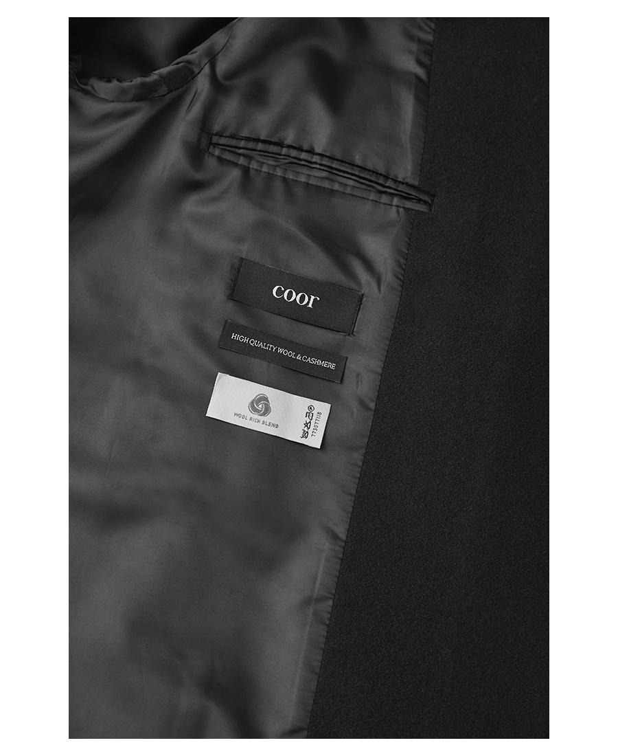 쿠어(COOR) 오버핏 더블 롱 코트 (블랙)