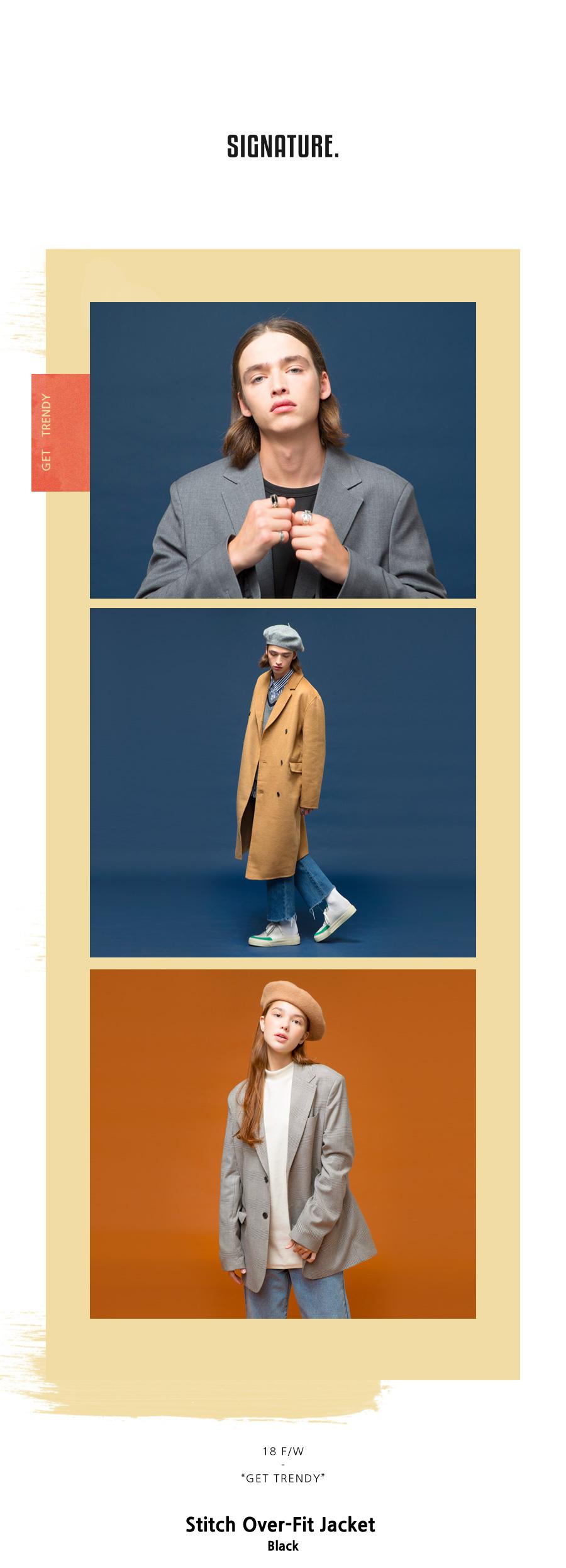 시그니처(SIGNATURE) 스티치 오버핏자켓 [검정]
