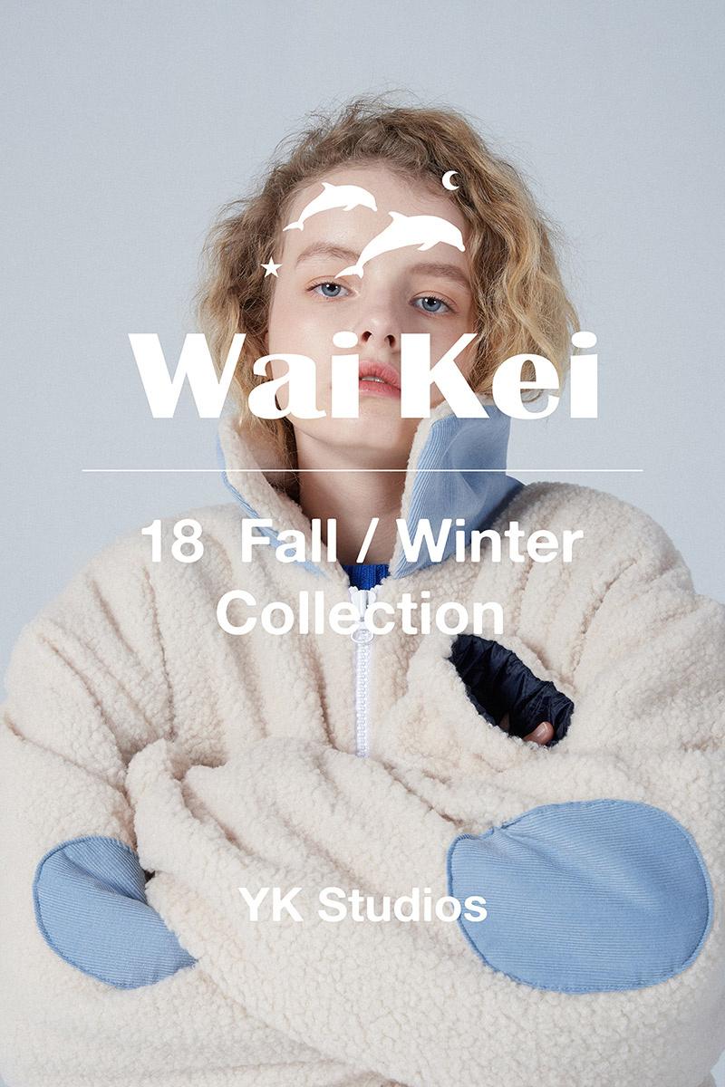 와이케이(WAIKEI) 돌핀 자수 스웨터_레드
