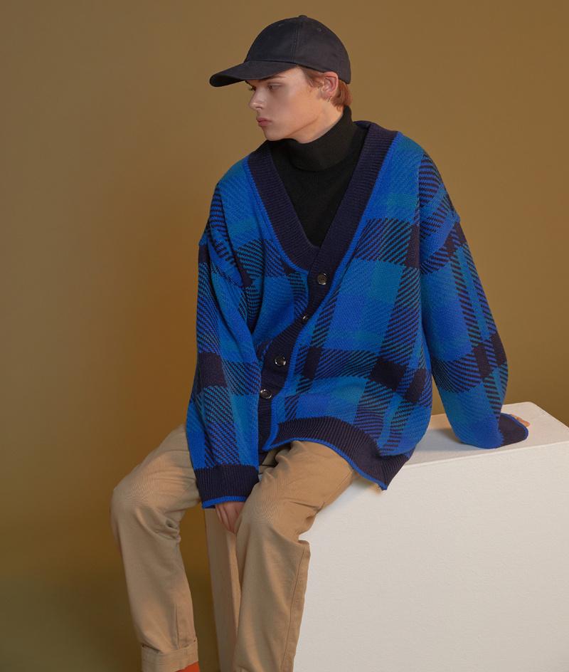 블론드나인(BLOND9) Check Knit Cardigan