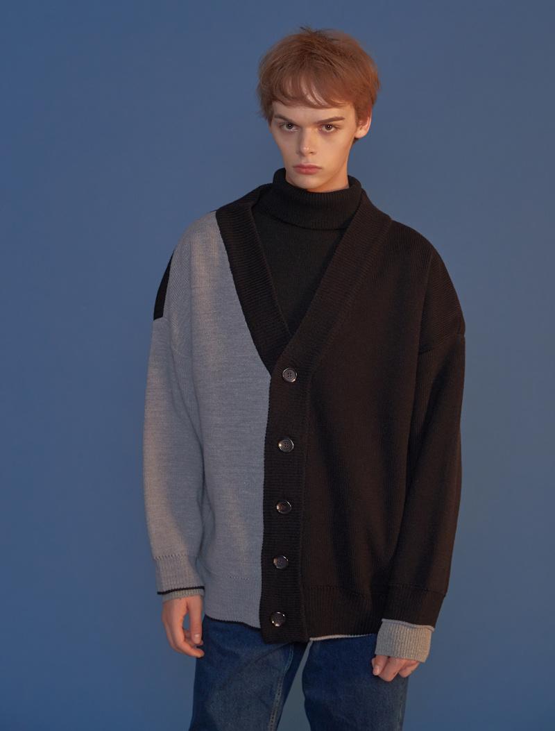 블론드나인(BLOND9) Half Half Knit Cardigan