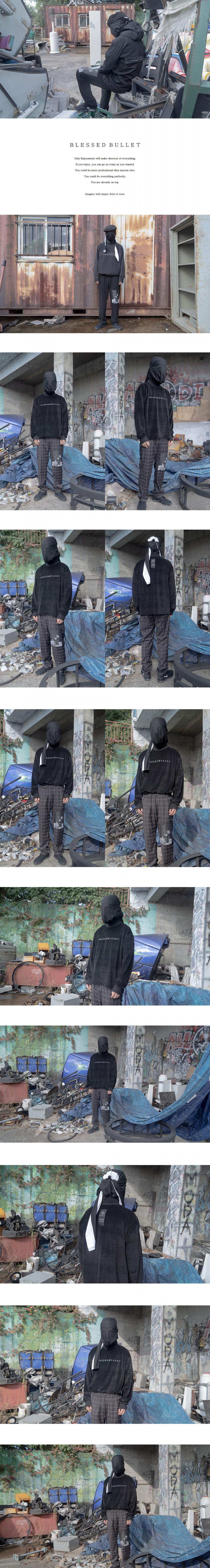 블레스드 뷸렛(BLESSED BULLET) 테크니컬 X 로고 벨벳 스웻 셔츠