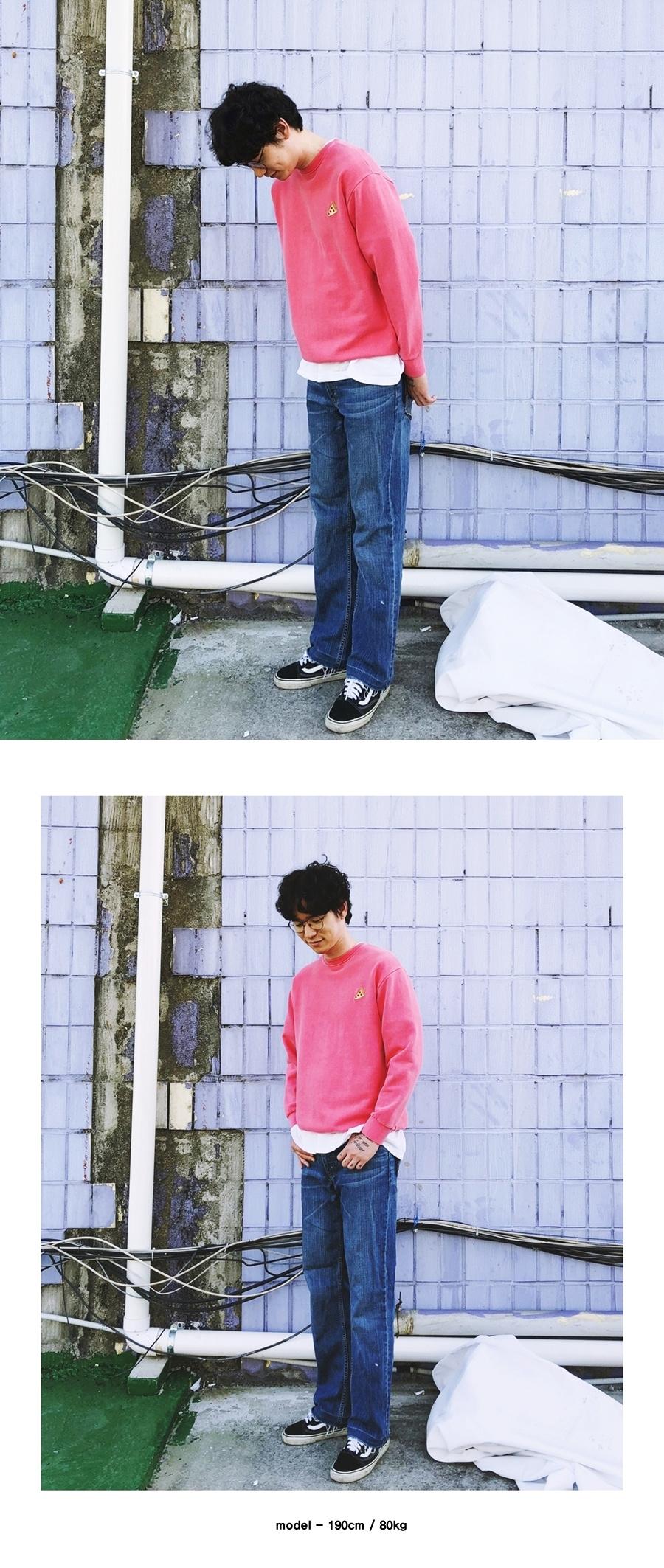 런디에스(RUNDS) 베이직 피그먼트 스웨트셔츠 (핑크)
