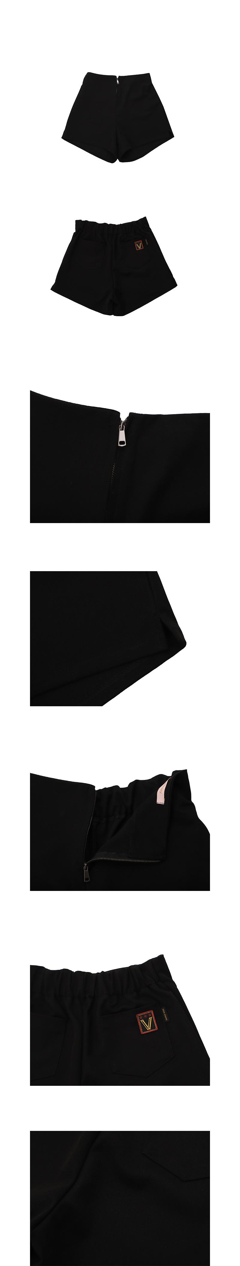 비바클래시(VIVACLASSY) 슬림 허리밴딩 셋업 숏팬츠_블랙