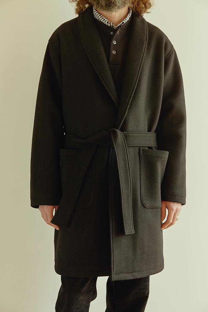유니폼브릿지(UNIFORM BRIDGE) 18fw wool robe coat black