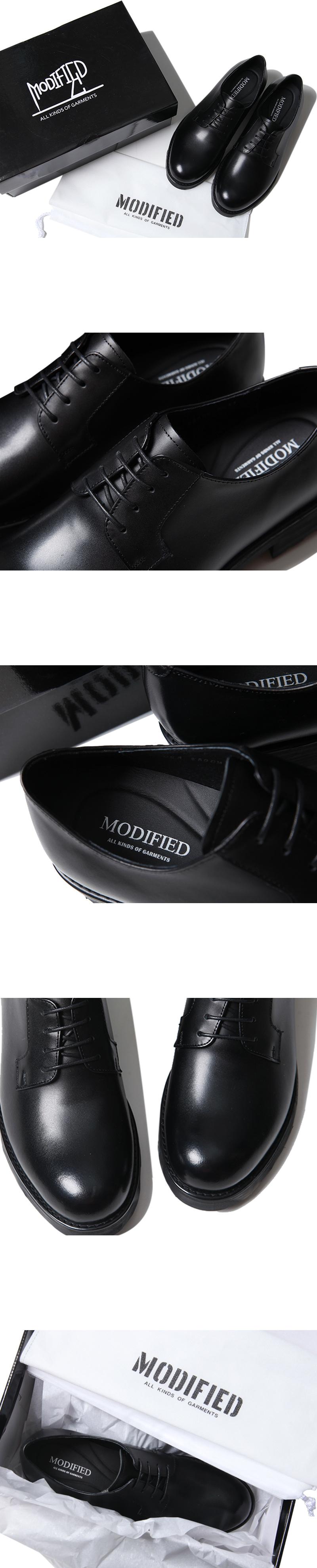 모디파이드(MODIFIED) M#1672 cowhide black derby shoes (1cm 키높이)