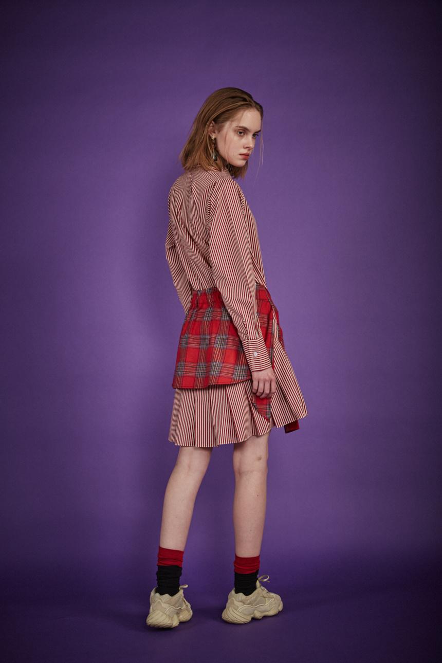 알쉬미스트(R.SHEMISTE) 체크 타이 셔츠 드레스 - RED