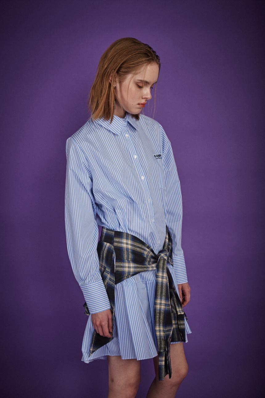 알쉬미스트(R.SHEMISTE) 체크 타이 셔츠 드레스 - BL